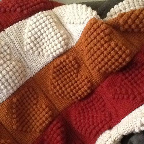 Full Heart Bobble Square - Free Pattern