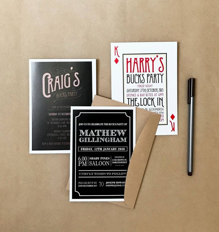 Fun and playful buck's party invitations! http://candlebarkweddings.com.au/pre-wedding-events/buck-s-party-invitations.html