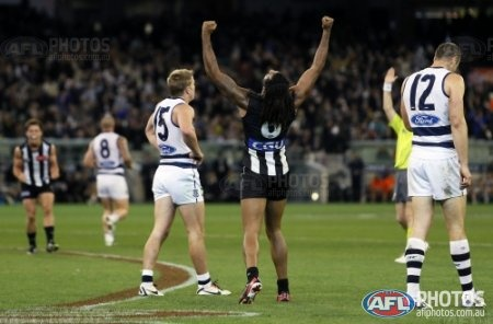 Collingwood's Harry O'Brien celebrates a win after the 2013 AFL round 08 match between the Collingwood Mapgies and the Geelong Cats at the MCG, Melbourne on May 18, 2013. (Photo: David Callow/AFL Media)