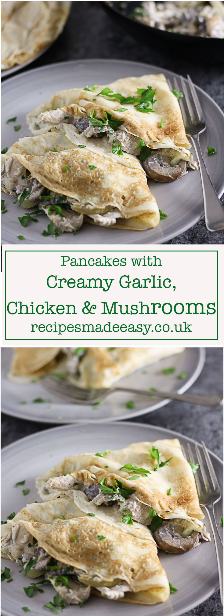 Delicious savoury pancakes filled with creamy garlic chicken and mushrooms, a delicious supper dish on pancake day or any day! via @jacdotbee