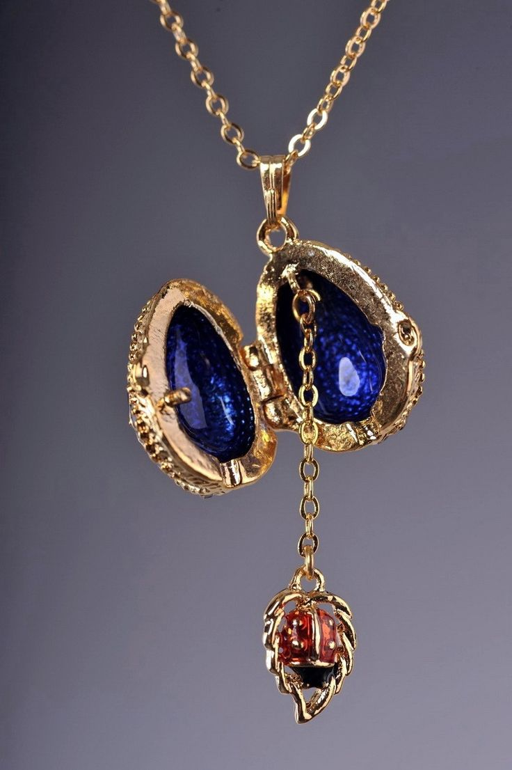 Blue Faberge Easter Egg Necklace Gold Plated Pendant