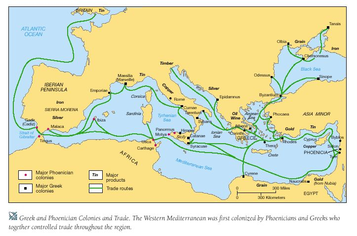 "Phoenician trading Routes.  ""the great merchants""  were the main traders of Mediterranean  silver mines in Spain, Tartessos, Rio Tinto.   Traded with Celts. Tin from Cornwall.  traded raw materials (cedar, pine, metals), food (wine, spices, fish), and luxury goods (carved ivory, glass, and purple textiles)  linked the middle east and asia to europe and northern Africa  skilled Phoenician artisans were imported throughout the Mediteranean to aid with design and building"