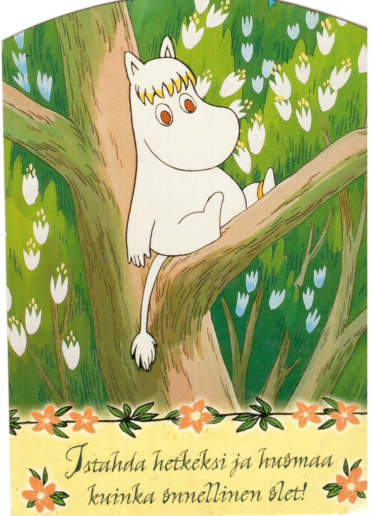 Swap from Finland - Card with Moomin in a tree and writing in the Finnish language from a Postcrosser in Finland.