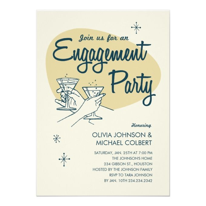 1013 best Cocktail Party Invitations images on Pinterest Green - engagement party invitation template