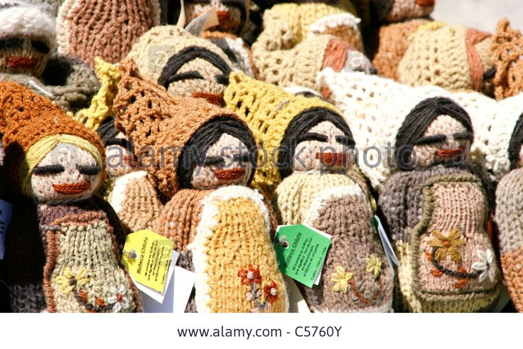 Local Chilean dolls made of wool, Chiloé Island, Chile, South America Stock Photo