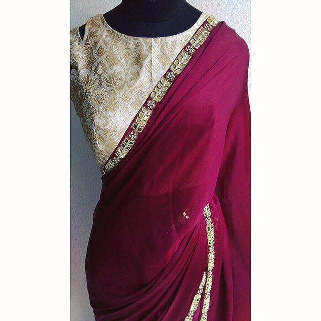New limited stock by waidurya - email us to enquire today! #waliajones #saree #sari #elegant #love #maroon #gold #beige #style