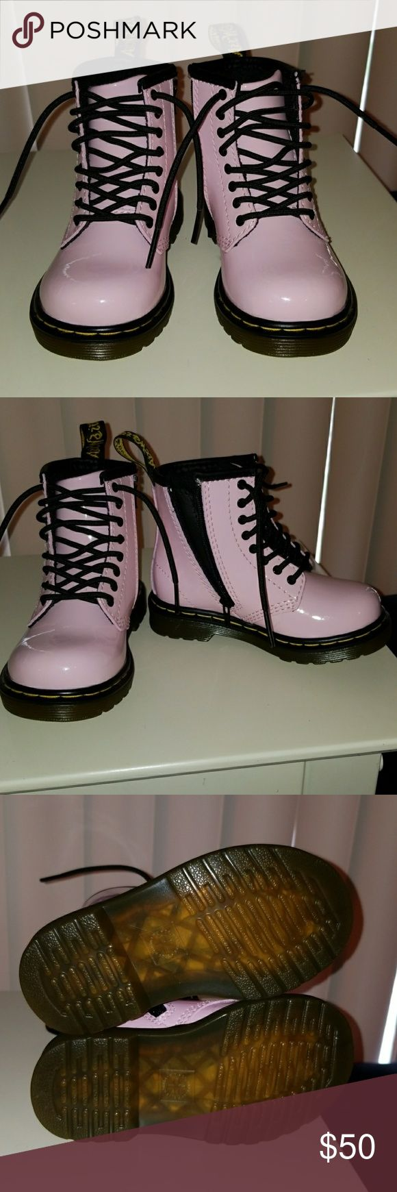DR. MARTENS BABY PINKPATENT LAMPER BOOTS Brand new Dr. Martens baby pink patent lamper boots size 7. Purchased on the Dr. Martens website. They have only been tried on by my daughter. They were the wrong size. The boots are sold out online- Dr. Martens website. Comes with original box. Fast shipping. Dr. Martens Shoes Boots