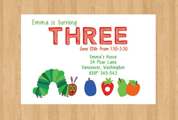 Very Hungry Caterpillar Invitation Diy Birthday