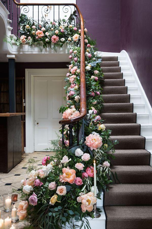 Florist Friday Tallulah Rose Flower School Wedding Flower Course Retreat Part 2 Floweron Wedding Staircase Decoration Wedding Staircase Wedding Flowers