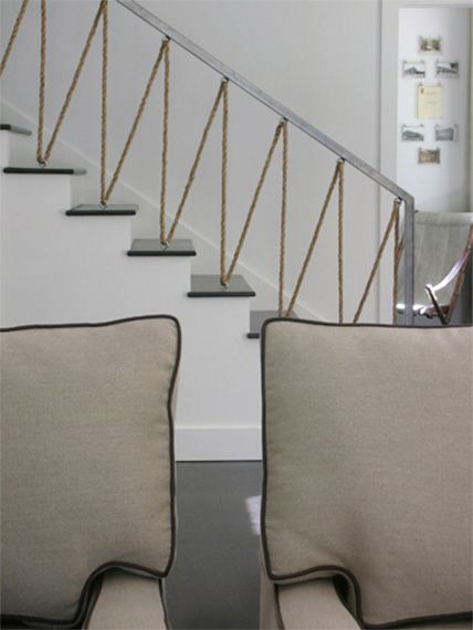 rope stair railing design by Antonio Martins--not quite right for my space, but good to see variations