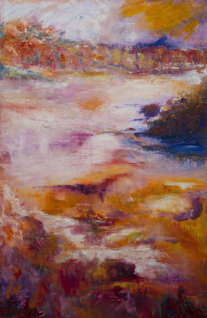 Fantasie in landschap. Fantasy landscape. Oilpainting on linnen. Size: 115 x 75 cm. FOR SALE: € 425,00
