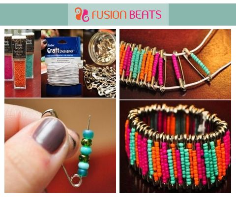 ake a quirky bracelet with safety pins and colorful beads. Its easy to make and stylish to flaunt.