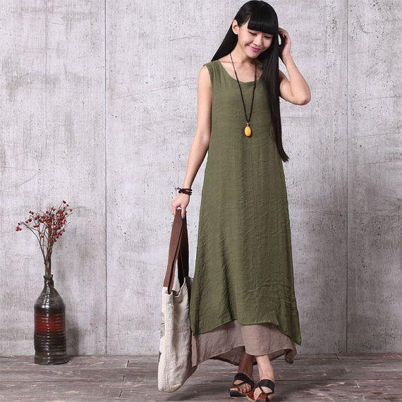 Loose Fitting Long Maxi Dress - Summer Dress in Green - Sleeveless Sundress for Women