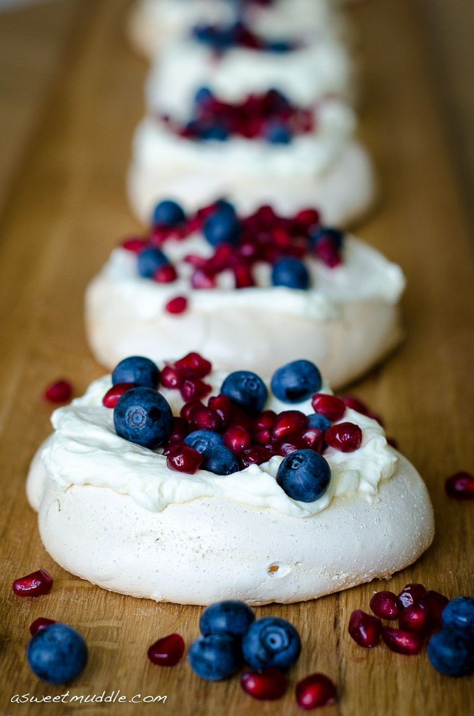 Happy Australia Day Mini pavlovas -- the colors on this are stunning! I need to remember pomegranate seeds...