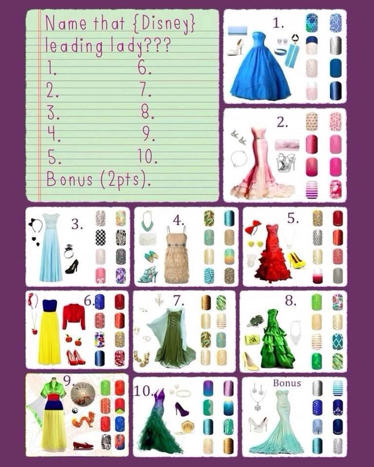 Name that Disney leading lady? Jamberry Nails party game. Shop at http://kanwilliams.jamberrynails.net