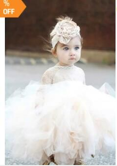 b48d04d408 2018 Vintage Lovely Ivory Baby Infant Toddler Baptism Clothes Flower Girl  Dresses With Long Sleeves Lace Tutu Ball Gowns Cheap
