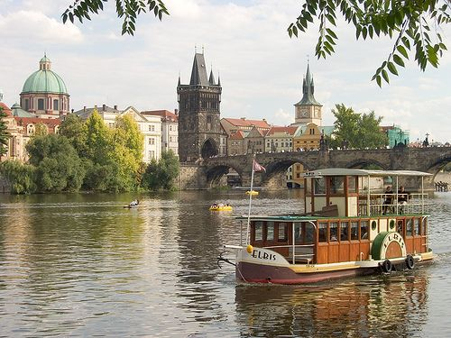 Praque by river boat on the Vltava River