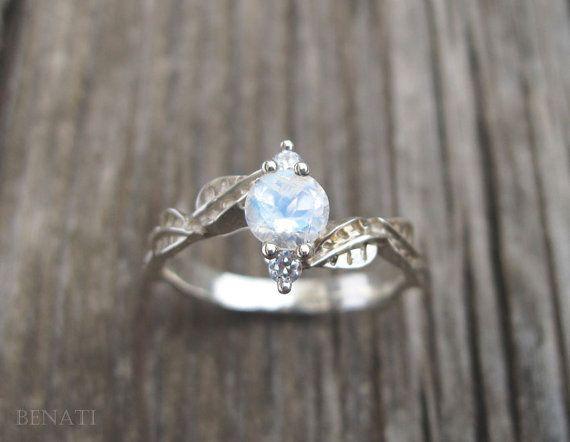 Moonstone Leaf Engagement Ring Leaf Engagement Ring by Benati