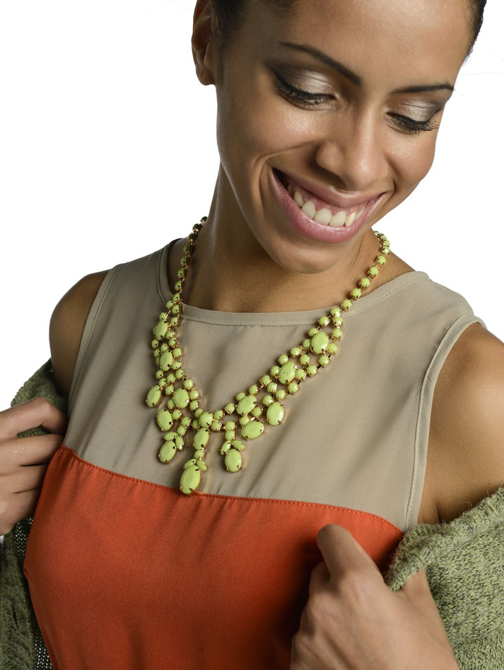 Chandelier Necklace in Lime Green