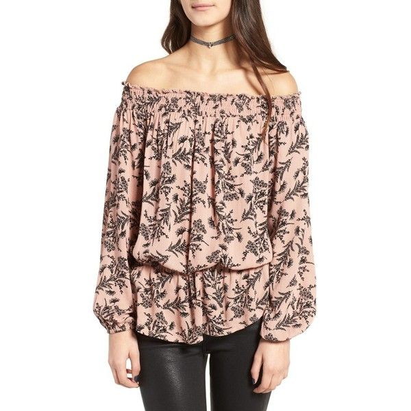 Women's Love, Fire Floral Off The Shoulder Top ($49) via Polyvore featuring tops, blouses, black mauve floral, floral off shoulder top, floral off the shoulder top, draped blouse, silver top and flower print tops