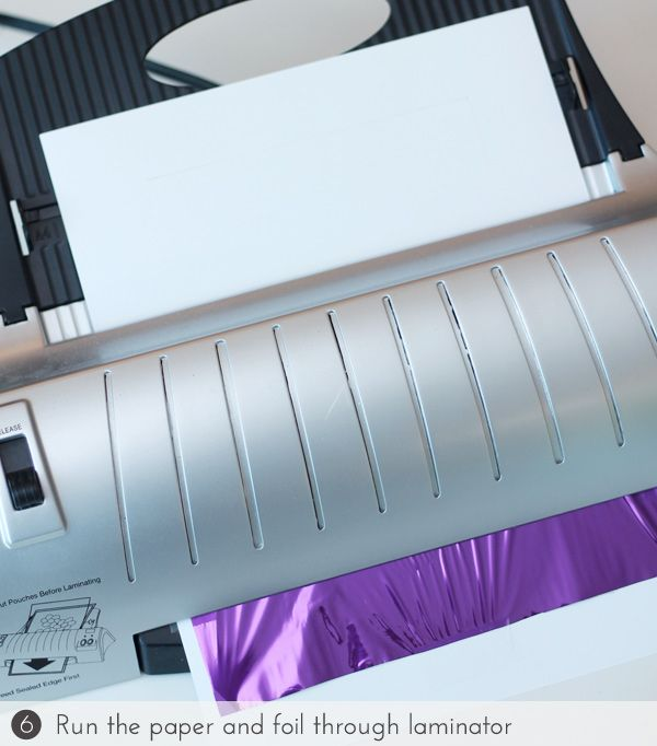Using a laminator to activate heat-transfer foil. Genius! Stamped Laser Foil Cards