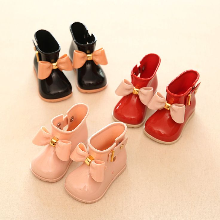 11.8-19.8cm Mini sed Bow girls rain Boots for baby toddler little girls boots Waterproof Child Rubber Boots Jelly water shoes