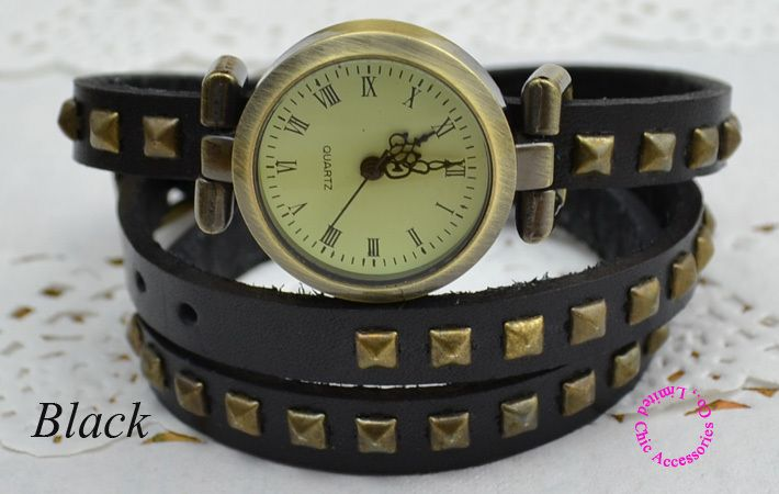 vintage retro woman girl ladies 3 three wrap 4 colors fashion rivet punk long leather strap bracelet lady wristwatch watch hour-in Women's Watches from Watches on Aliexpress.com   Alibaba Group
