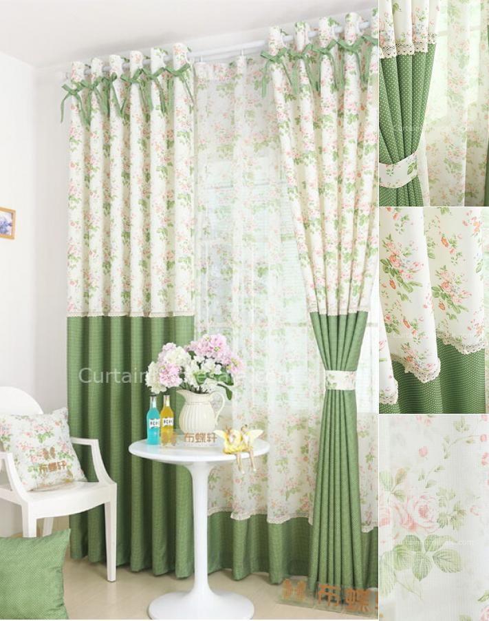 Green Floral Patterns Polka Dots Curtains Of Nice Design Desain Interior Tirai Jendela Horden