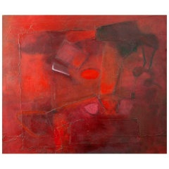 Deep red Italian abstract espressionist painting by Simafra
