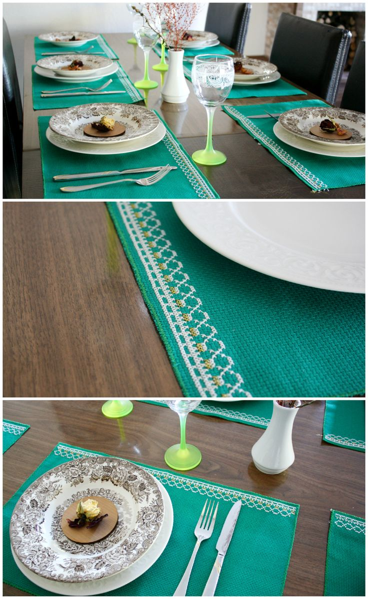 Dining place mats Embroidery decor Fabric placemats Cross stitch white ornament pattern Green xmas gift Kitchen decoration Table mat set #placemats #embroiderydecor #diningdecoration