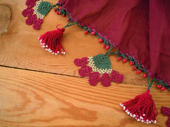 burgundy scarf with crochet flowers pink tassels and beads