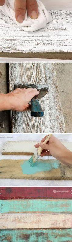 DIY ideas to make wood look old, weathered or distressed.