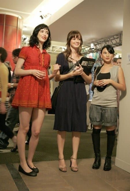 Black gold lace dress in gilmore girls