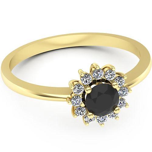 Inel de logodna realizat din aur galben, cu diamant negru si diamante de jur imprejur. Profita de pretul redus!