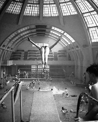 Urmston Baths View from Diving Board end and Cafe towards the Balcony seats