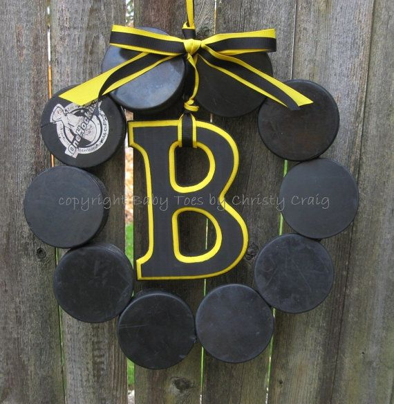 Boston Bruins Hockey Love Wreath with Letter by 1BabyToes1 on Etsy, $45.00
