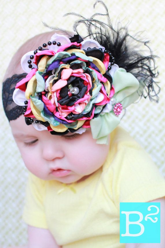 Reserved for Gretel  Yellow Headband/ black от NannieEvaCouture