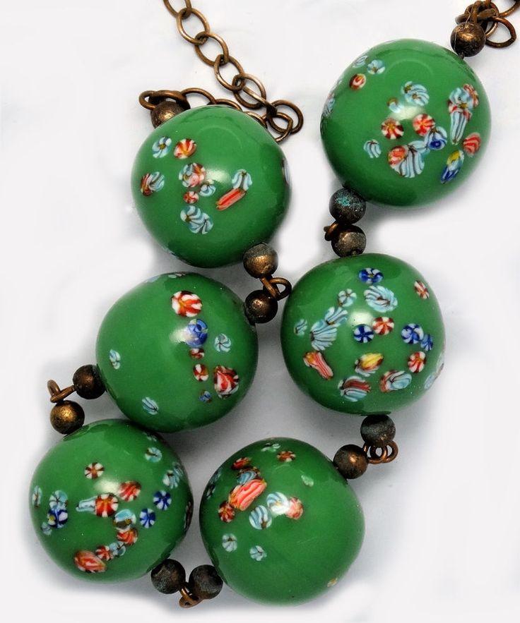 Vintage Japanese ART GLASS BEADS NECKLACE Green Flowers Millefiori Brass Chain #Unbranded #Millefiori