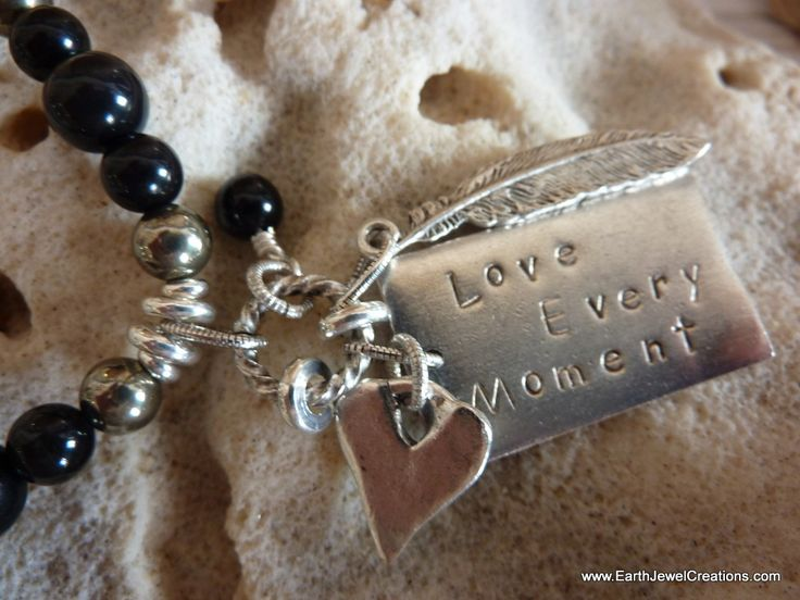 Black Obsidian Gemstone Affirmation Necklace - Inspirational Crystal Jewellery Handmade by Earth Jewel Creations Australia