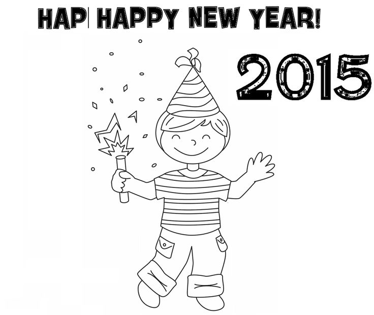 Coloring Pages Happy New Year Background 2016