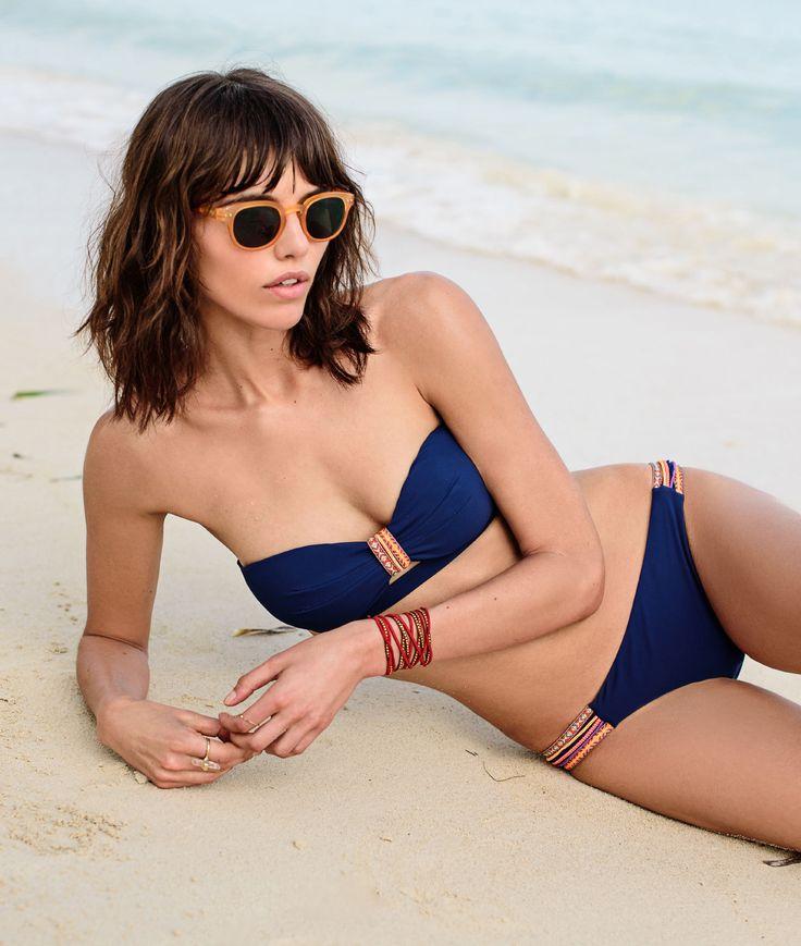 Sujetador bikini sin tirantes motivos étnicos