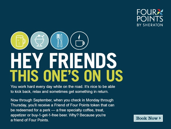 """Free Perks For """"Friends"""" of Four Points by Sheraton"""