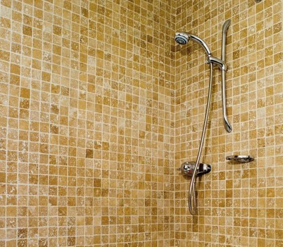 Walnut Travertine mosiac brick - Manadrin Stone, £63.50/m2