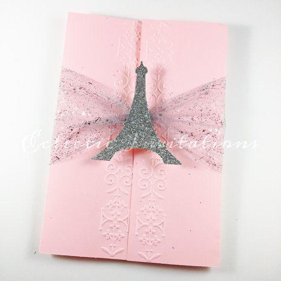 100 invitaciones temáticas de París rosa por VeronicasStuff