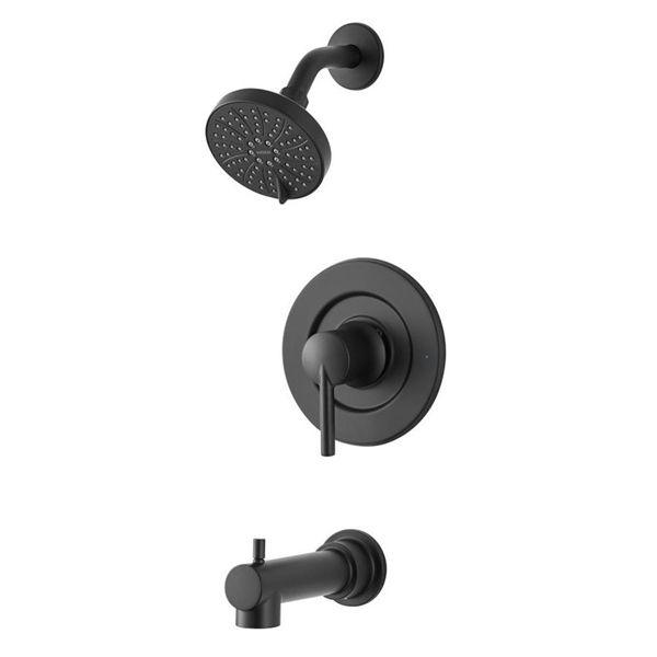 Moen Arlys Matte Black 1 Handle Wall Mount Bathtub Faucet Valve Included Bathtub Faucet Shower Faucet Sets Faucet