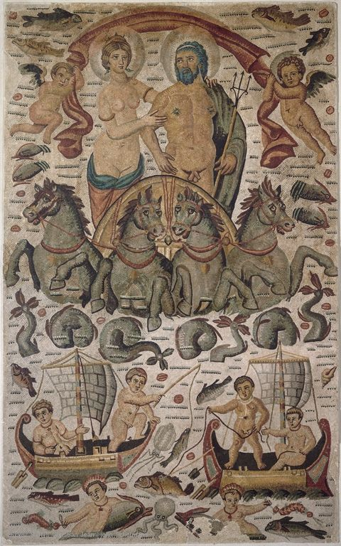 Mosaic: Triumph of Neptune and Amphitrite Circa AD 315-325 Found in 1842 in Constantine (ancient Cirta), Algeria