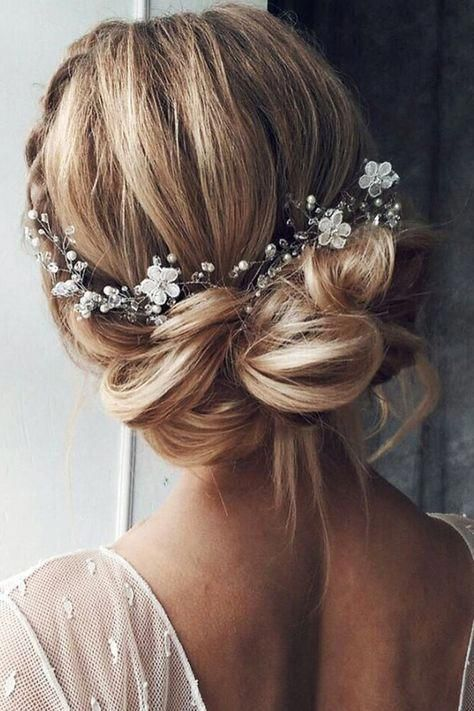 Elegant Rustic Bridal Updo Wedding Hairstyle with Braid Silver Vine and Crystal