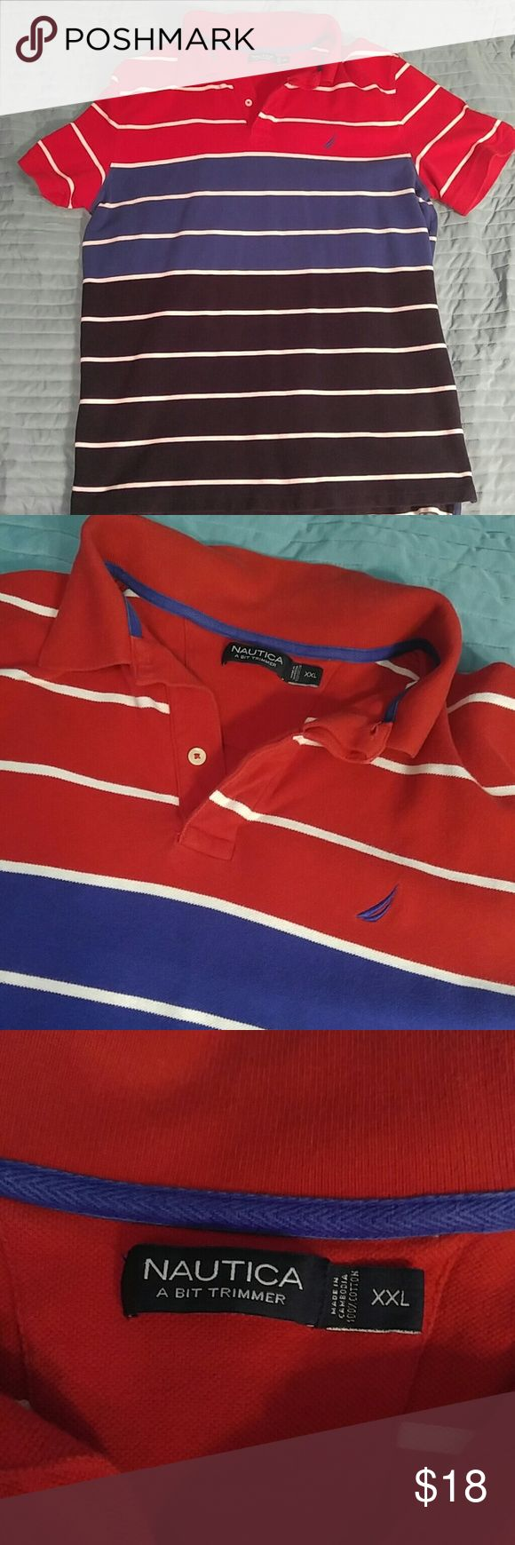 """Nautica tri color striped polo shirt XXL Beautiful blue and red Nautica polo in great shape. No fade to the color at all! Size is XXL but is labeled """"a bit trimmer"""" so will work with XL as well. Nautica Shirts Polos"""