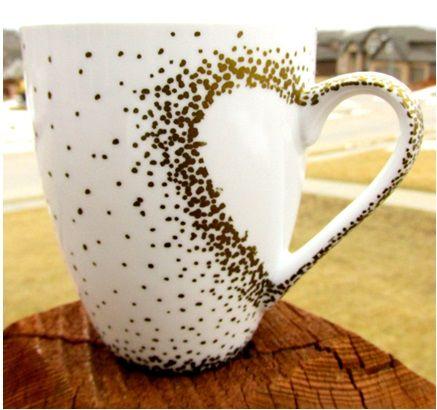 el yapımı kalpli kahve kupası