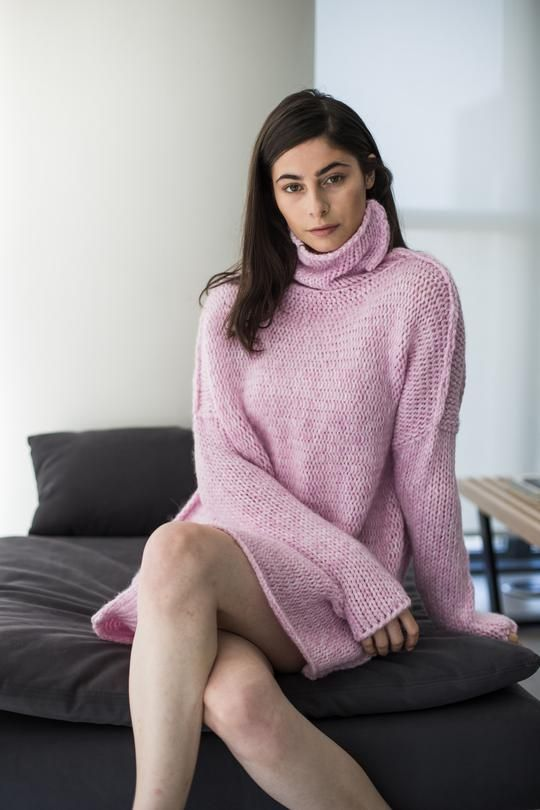 972f94e62 Pink Alpaca chunky knit sweater in 2019